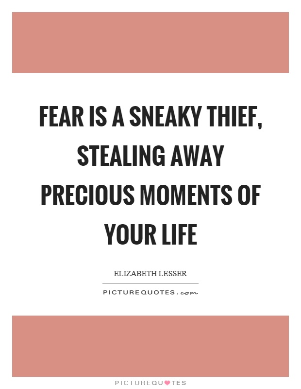 Fear is a sneaky thief, stealing away precious moments of your life Picture Quote #1