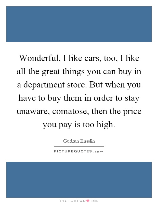 Wonderful, I like cars, too, I like all the great things you can buy in a department store. But when you have to buy them in order to stay unaware, comatose, then the price you pay is too high Picture Quote #1