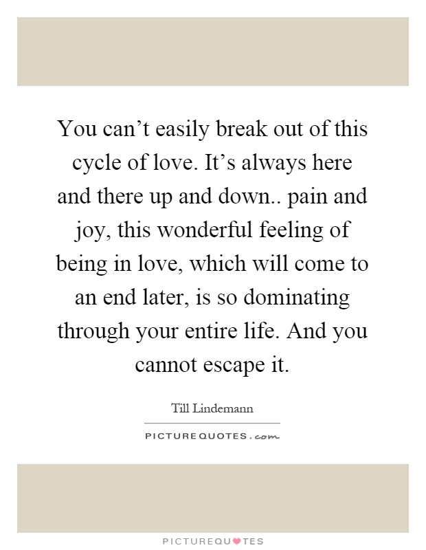 You can't easily break out of this cycle of love. It's always here and there up and down.. pain and joy, this wonderful feeling of being in love, which will come to an end later, is so dominating through your entire life. And you cannot escape it Picture Quote #1