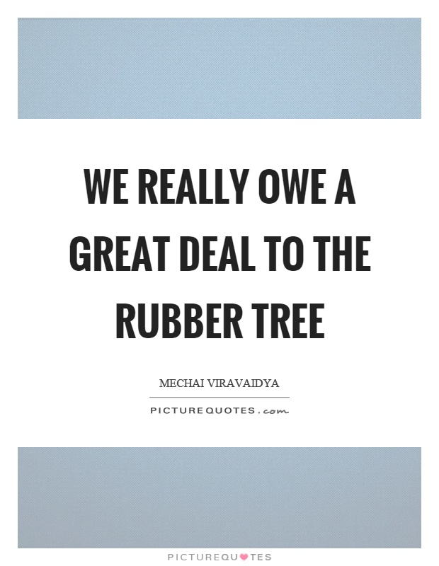 We really owe a great deal to the rubber tree Picture Quote #1