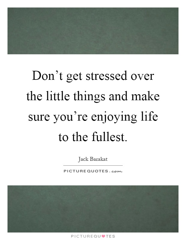 Don't get stressed over the little things and make sure you're enjoying life to the fullest Picture Quote #1