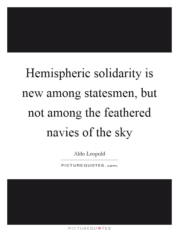 Hemispheric solidarity is new among statesmen, but not among the feathered navies of the sky Picture Quote #1