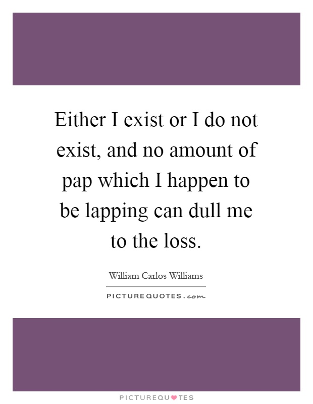 Either I exist or I do not exist, and no amount of pap which I happen to be lapping can dull me to the loss Picture Quote #1