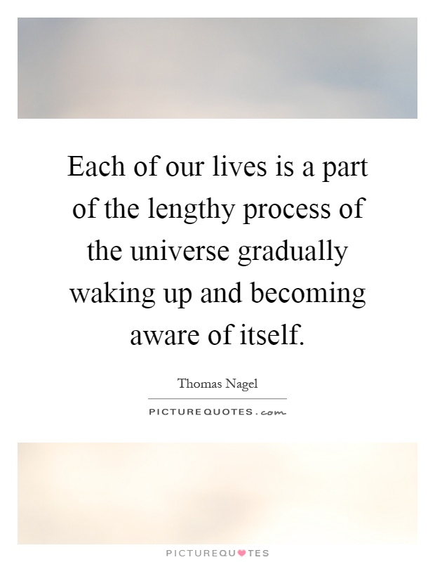 Each of our lives is a part of the lengthy process of the universe gradually waking up and becoming aware of itself Picture Quote #1
