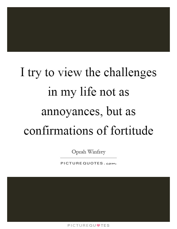 I try to view the challenges in my life not as annoyances, but as confirmations of fortitude Picture Quote #1