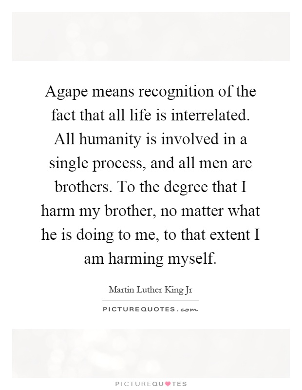 Agape means recognition of the fact that all life is interrelated. All humanity is involved in a single process, and all men are brothers. To the degree that I harm my brother, no matter what he is doing to me, to that extent I am harming myself Picture Quote #1