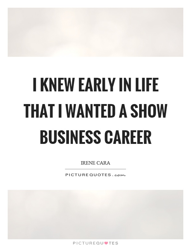 I knew early in life that I wanted a show business career Picture Quote #1