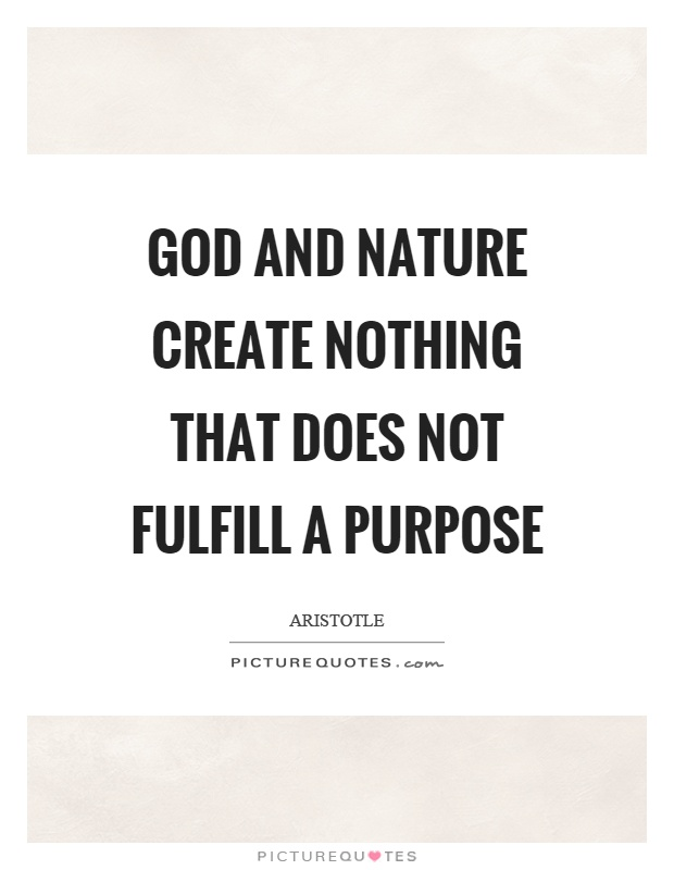 God and nature create nothing that does not fulfill a purpose Picture Quote #1
