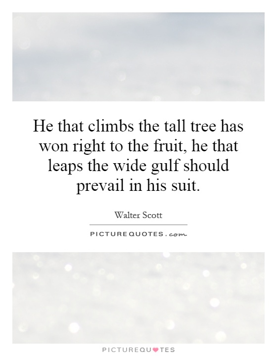 He that climbs the tall tree has won right to the fruit, he that leaps the wide gulf should prevail in his suit Picture Quote #1