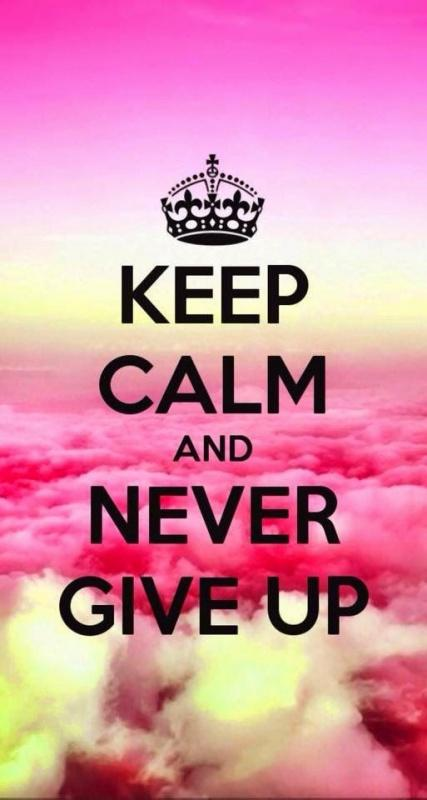 Keep calm and never give up Picture Quote #1
