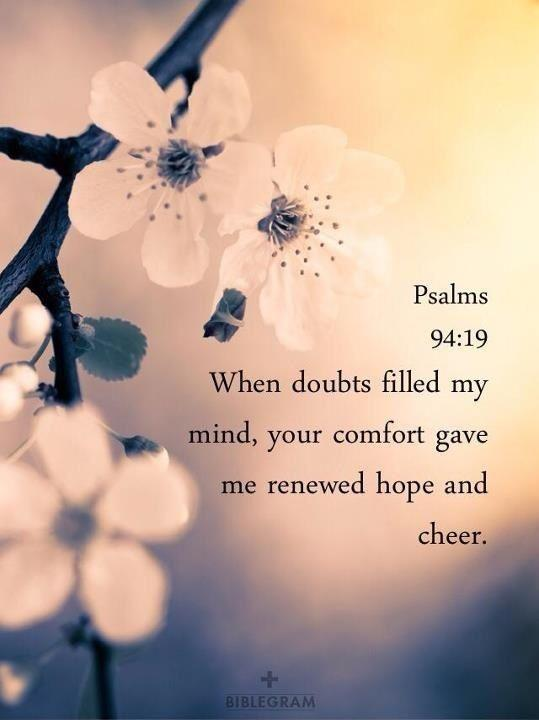When doubts filled my mind, your comfort gave me renewed hope and cheer Picture Quote #1