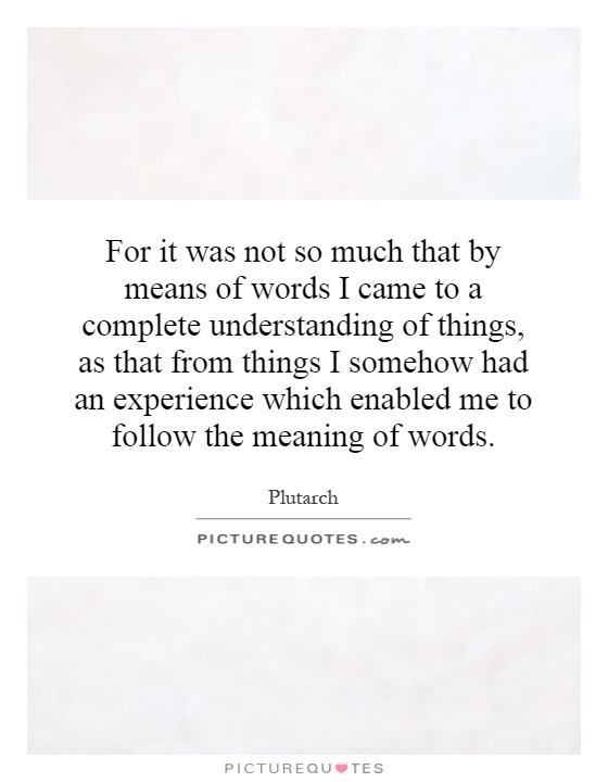 For it was not so much that by means of words I came to a complete understanding of things, as that from things I somehow had an experience which enabled me to follow the meaning of words Picture Quote #1