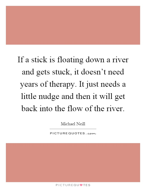 If a stick is floating down a river and gets stuck, it doesn't need years of therapy. It just needs a little nudge and then it will get back into the flow of the river Picture Quote #1