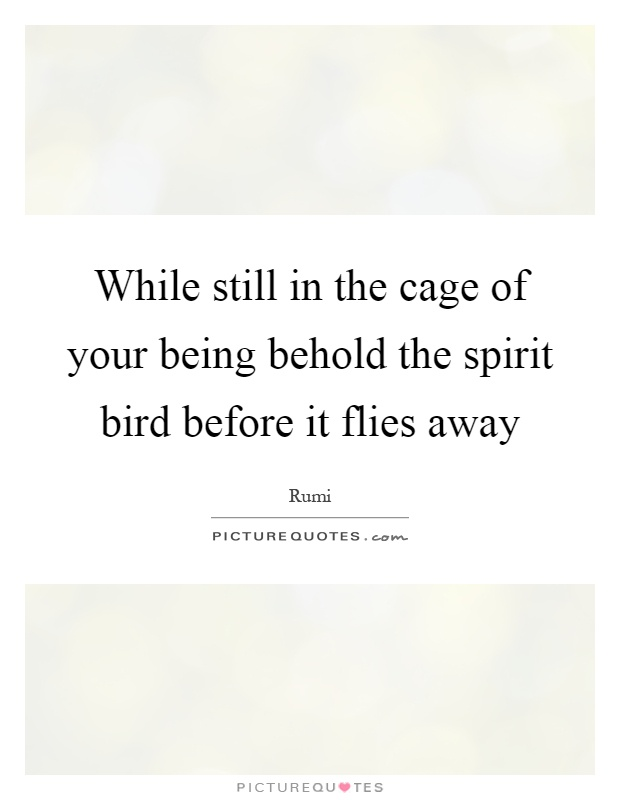 While still in the cage of your being behold the spirit bird before it flies away Picture Quote #1