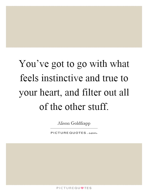 You've got to go with what feels instinctive and true to your heart, and filter out all of the other stuff Picture Quote #1