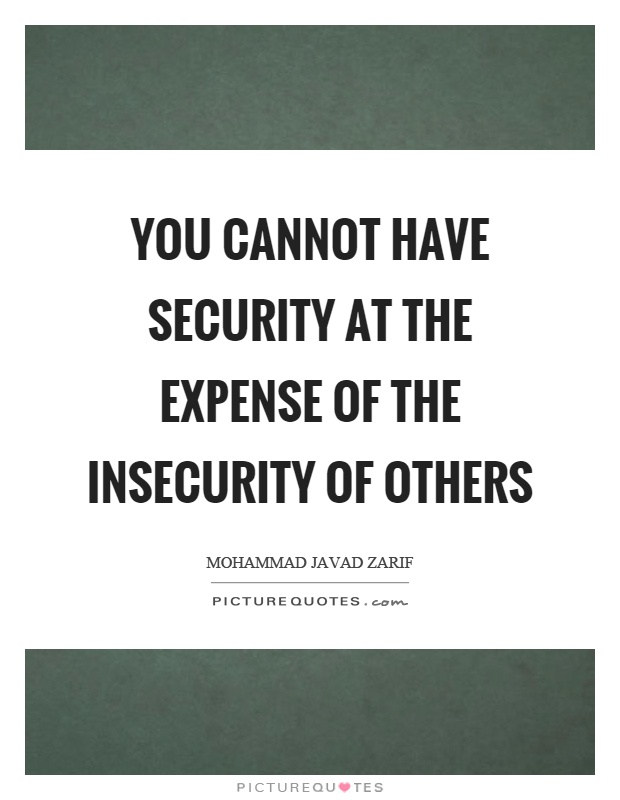 You cannot have security at the expense of the insecurity of others Picture Quote #1