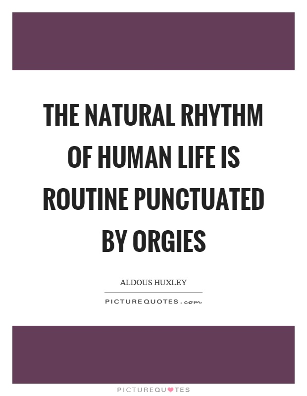 The natural rhythm of human life is routine punctuated by orgies Picture Quote #1
