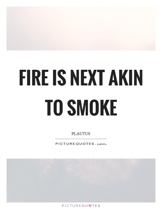 Fire is next akin to smoke Picture Quote #1
