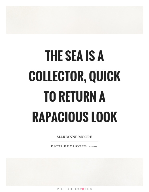 The sea is a collector, quick to return a rapacious look Picture Quote #1
