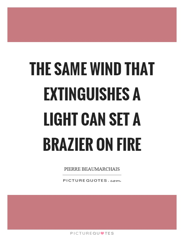 The same wind that extinguishes a light can set a brazier on fire Picture Quote #1