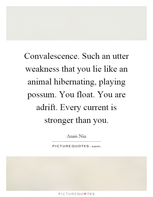 Convalescence. Such an utter weakness that you lie like an animal hibernating, playing possum. You float. You are adrift. Every current is stronger than you Picture Quote #1