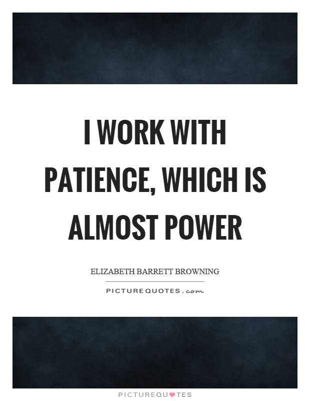 I work with patience, which is almost power Picture Quote #1