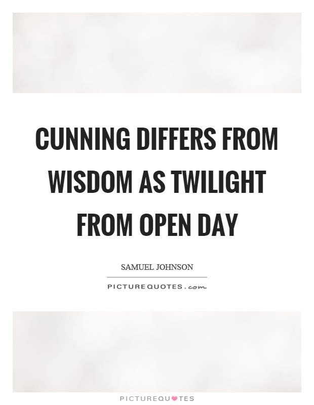 Cunning differs from wisdom as twilight from open day Picture Quote #1