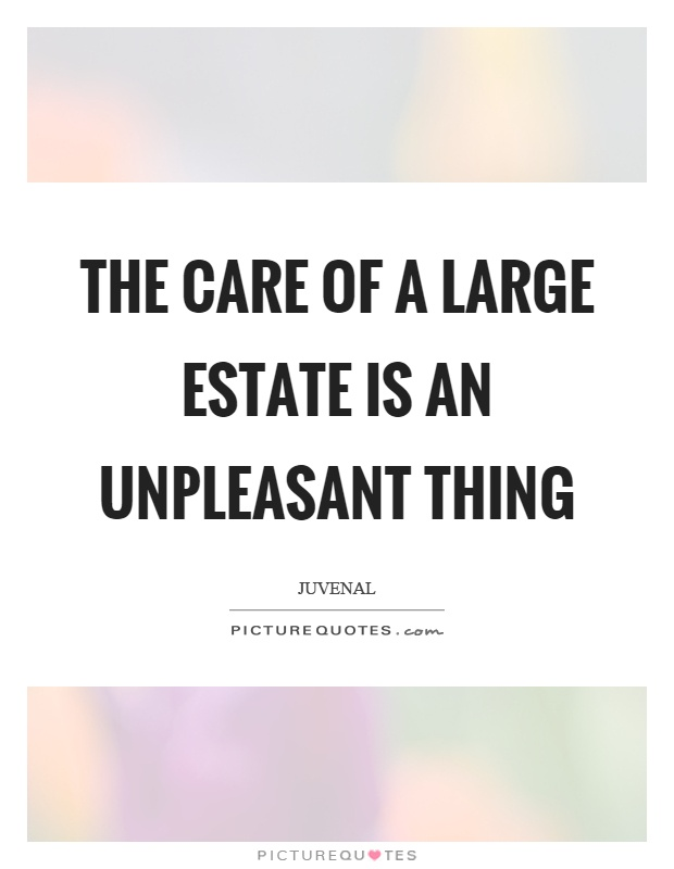 The care of a large estate is an unpleasant thing Picture Quote #1