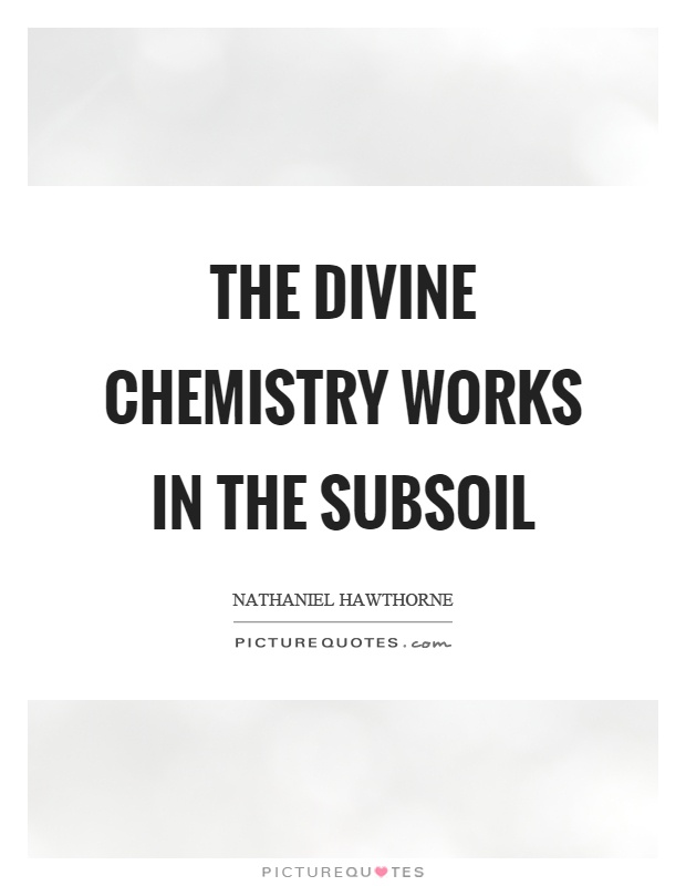 The divine chemistry works in the subsoil Picture Quote #1