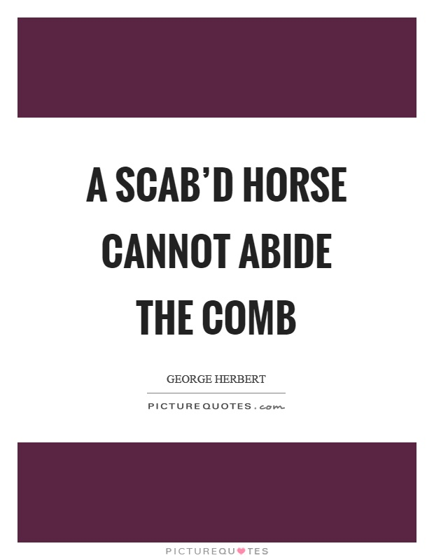 A scab'd horse cannot abide the comb Picture Quote #1