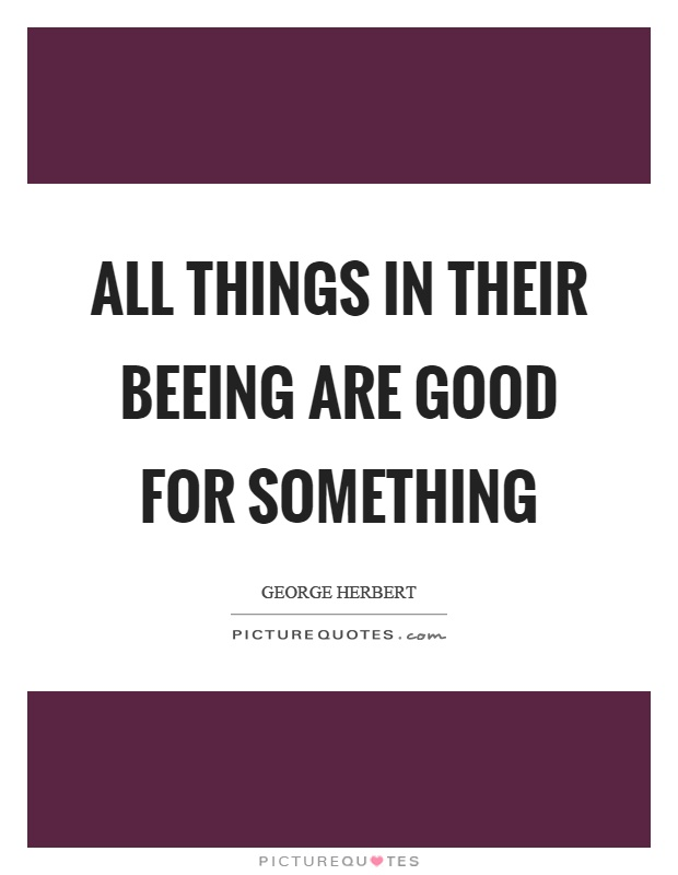 All things in their beeing are good for something Picture Quote #1