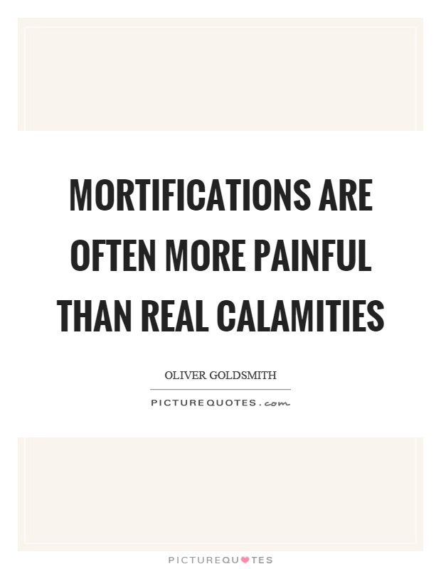 Mortifications are often more painful than real calamities Picture Quote #1