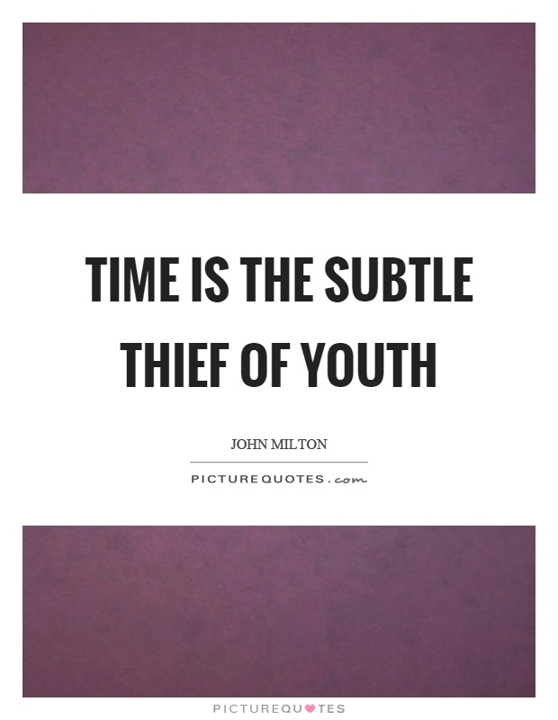 Time is the subtle thief of youth Picture Quote #1