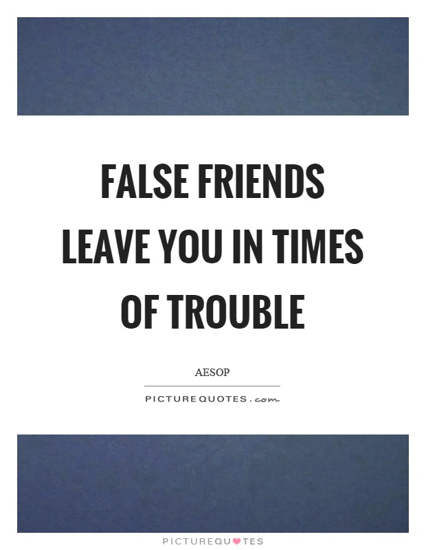 False friends leave you in times of trouble Picture Quote #1