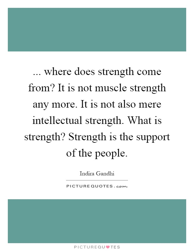 More Strength Quotes: Where Does Strength Come From? It Is Not Muscle Strength