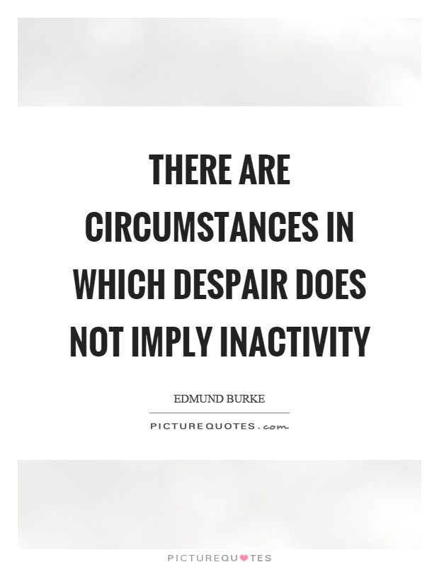 There are circumstances in which despair does not imply inactivity Picture Quote #1