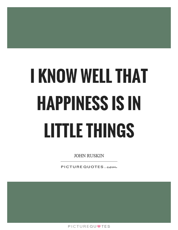 I know well that happiness is in little things Picture Quote #1