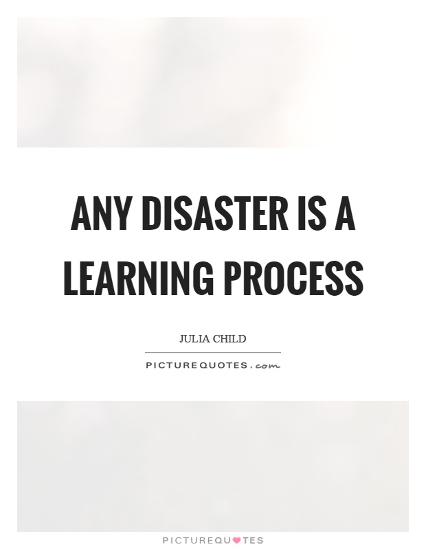 Any disaster is a learning process Picture Quote #1