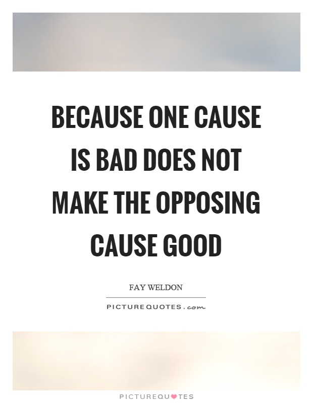 Because one cause is bad does not make the opposing cause good Picture Quote #1