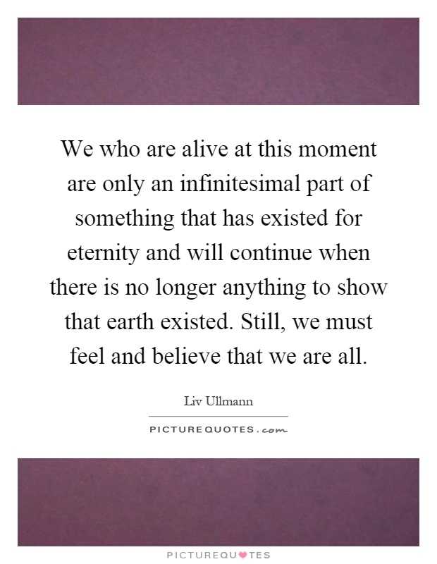 We who are alive at this moment are only an infinitesimal part of something that has existed for eternity and will continue when there is no longer anything to show that earth existed. Still, we must feel and believe that we are all Picture Quote #1