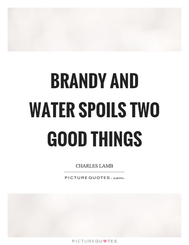 Brandy and water spoils two good things Picture Quote #1