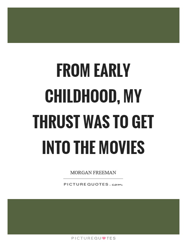 From early childhood, my thrust was to get into the movies Picture Quote #1
