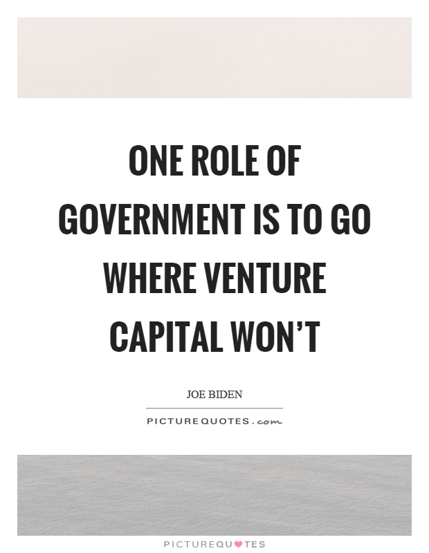 One role of government is to go where venture capital won't Picture Quote #1