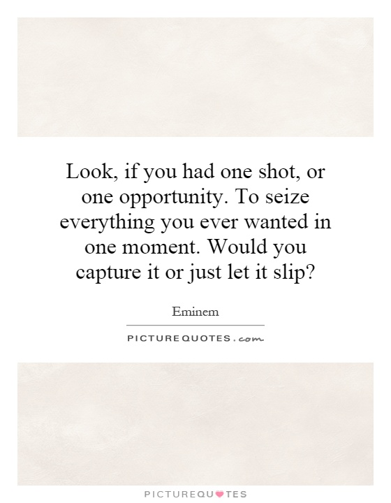 Look, if you had one shot, or one opportunity. To seize everything you ever wanted in one moment. Would you capture it or just let it slip? Picture Quote #1