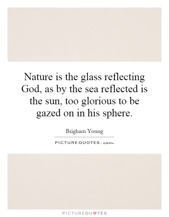 Nature is the glass reflecting God, as by the sea reflected is the sun, too glorious to be gazed on in his sphere Picture Quote #1