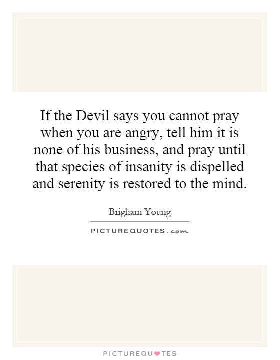 If the Devil says you cannot pray when you are angry, tell him it is none of his business, and pray until that species of insanity is dispelled and serenity is restored to the mind Picture Quote #1