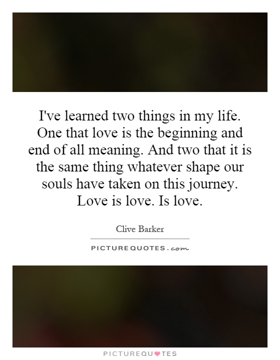 I've learned two things in my life. One that love is the beginning and end of all meaning. And two that it is the same thing whatever shape our souls have taken on this journey. Love is love. Is love Picture Quote #1