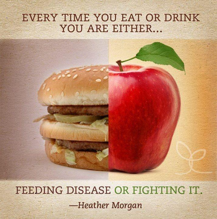 Every time you eat or drink you are either feeding disease or fighting it Picture Quote #1