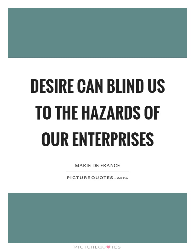 Desire can blind us to the hazards of our enterprises Picture Quote #1