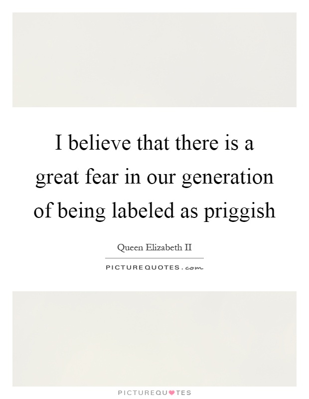 I believe that there is a great fear in our generation of being labeled as priggish Picture Quote #1
